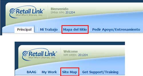 Foto de ejemplo de cómo ingresar al Mapa del Sitio de Retail Link