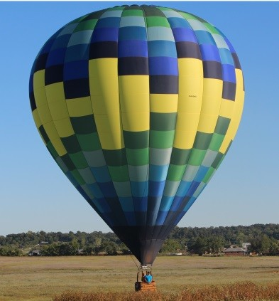 Hot air balloon in park