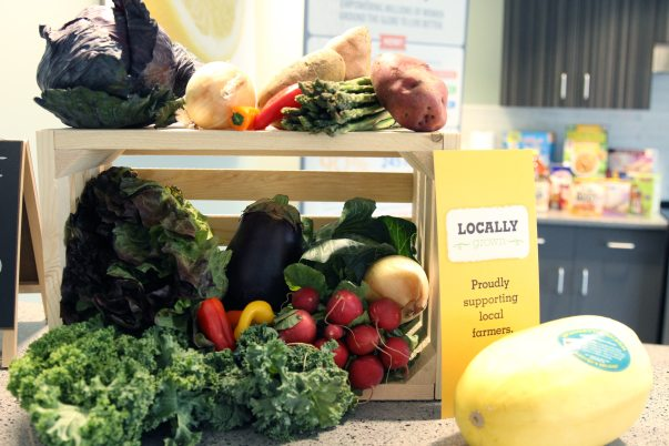 Locally grown fresh produce on a table