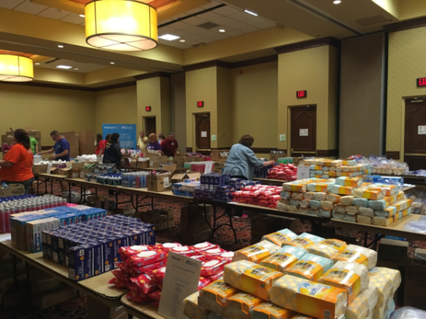 Supplies for International Medical Corps Kits on tables