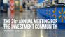 21st Annual Meeting for the Investment Community homepage banner - replay