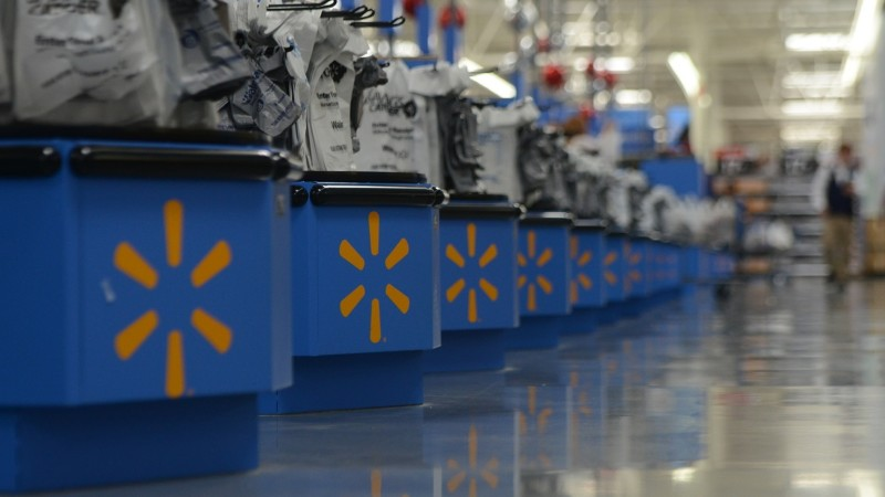 Registers are prepared for customers in a walmart supercenter