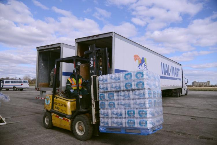 Walmart provides a truckload of water