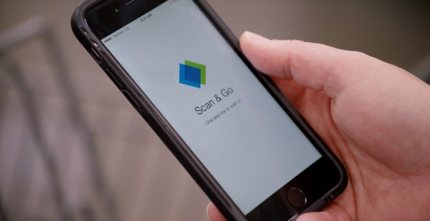 close up of scan & go app on iphone