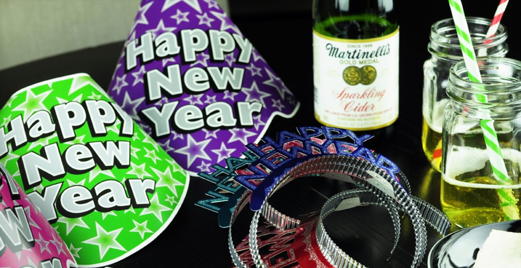 New Years Eve party supplies and food