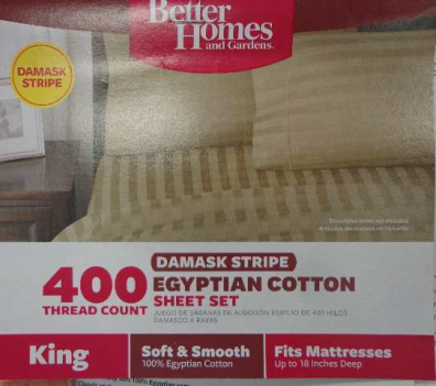 Refund Offer Better Homes And Gardens Canopy 400 Thread Count Damask Stripe Egyptian Cotton