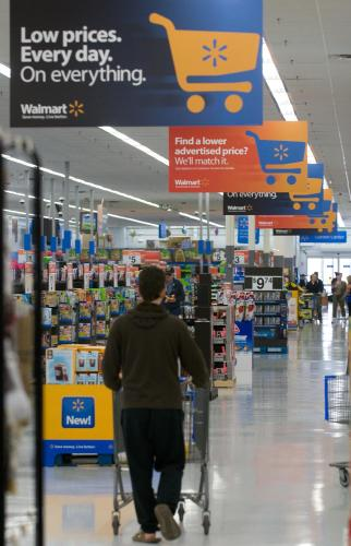 Customers shop in Action Alley at a Walmart Supercenter