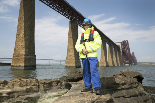 Andy close to the Firth bridges