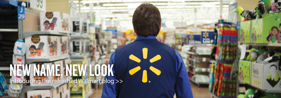 Text reads: New name, new look. Introducing the refreshed Walmart blog