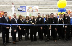 Walmart team members opening a new store with a ribbon cutting ceremony