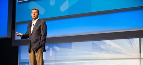 Doug McMillon On Stage Addressing Associates During Walmart Shareholders Week 2015