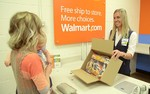Walmart e-commerce fulfillment customer picking up order in store