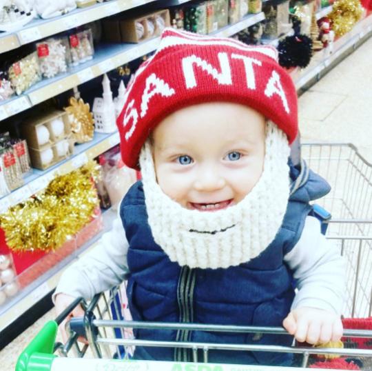 Noah with Santa hat