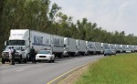 Walmart Trucks lined up to deliver supplies to survivors of Hurricane Katrina
