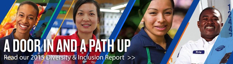 Text reads: A door in and a path up. Read our 2015  Diversity & Inclusion Report
