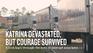 "Banner image reads ""Katrina Devastated, But Courage Survived"""
