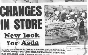 Newspaper clippings features checkout registers and customers shopping in a late 1980's Asda store