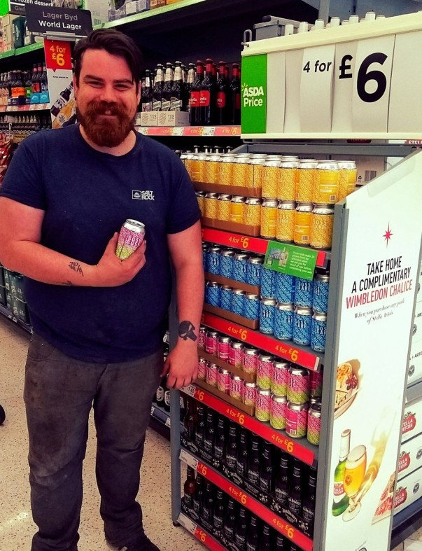 Drew sees Boss beer on sale at Asda Swansea