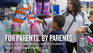 "Banner shows a mom and kids shopping with the words ""For Parents, By Parents"""