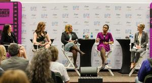 Panel discussion shows Walmart Foundation President Kathleen McLaughlin; actress and BFF Co-Founder Geena Davis; Pamela Prince Eason, president and CEO of the Women's Business Enterprise National Council; Helene Gayle, president and CEO of CARE USA; and Abigail Wozniak, senior economist for the White House Council of Economic Advisors.