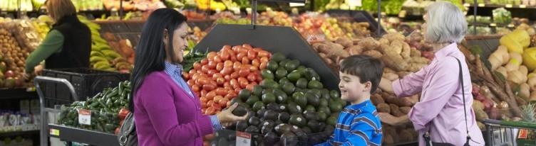 customer shopping produce walmart store