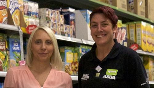 Evan's mum Laura Matthews with Amanda Clegg from Asda