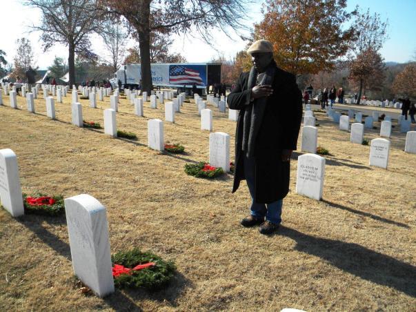 wreaths on headstones