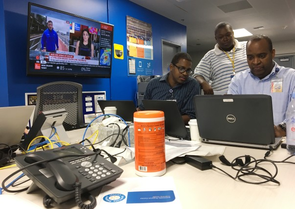 Associates working together in the Bentonville, Arkansas, Emergency Operations Center