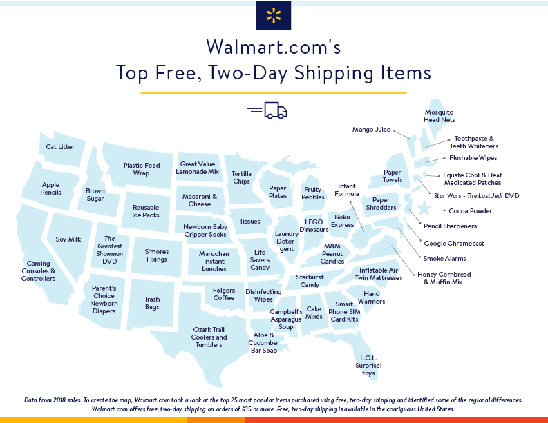 Walmart.com top 2-day shipping 2018 map graphic