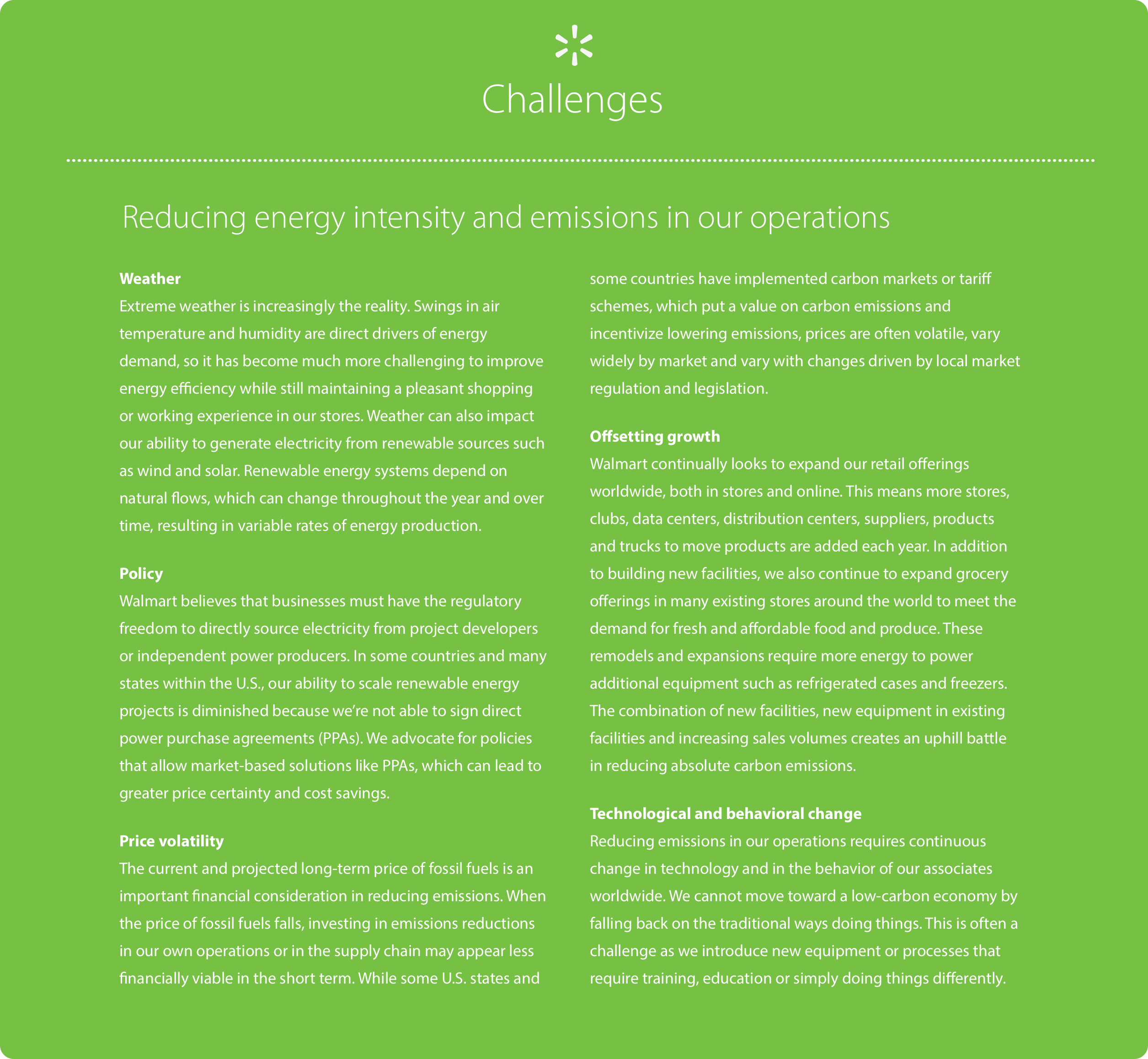 Energy and emissions challenges