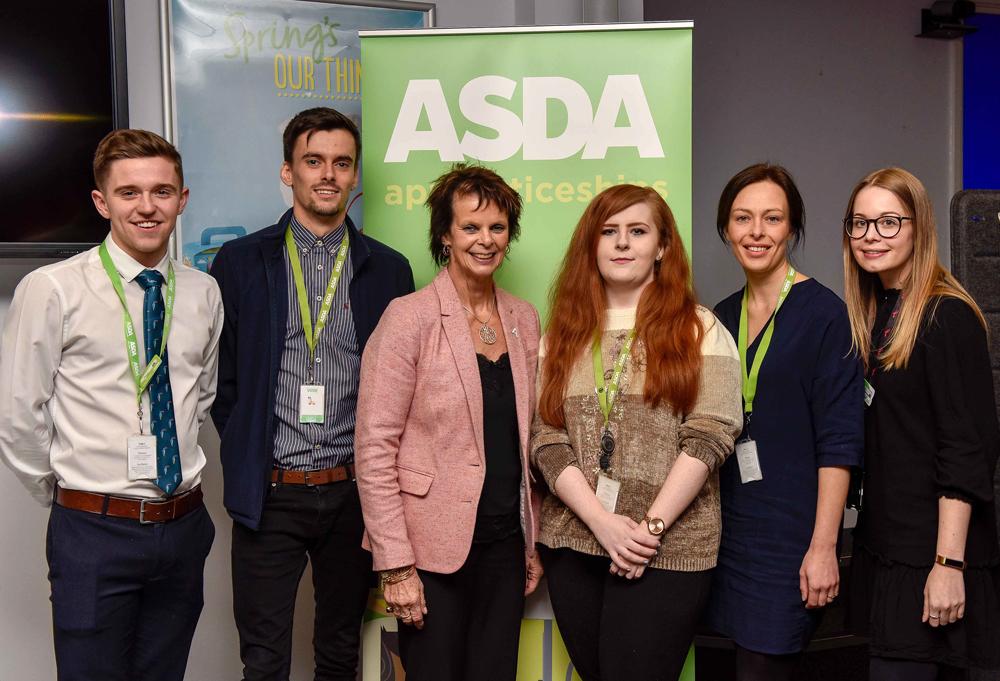 Apprenticeships Minister Anne Milton meets some of Asda's apprentices. From left to right Owen Hammond, Daniel Holmes, Anne Milton MP, Ashleigh Fitzpatrick, Kathryn Nicholson, Sarah Eaton
