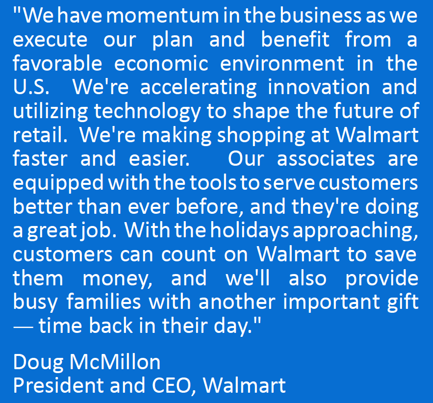 walmart u s q3 comp sales 1 grew 3 4 and walmart u s ecommerce