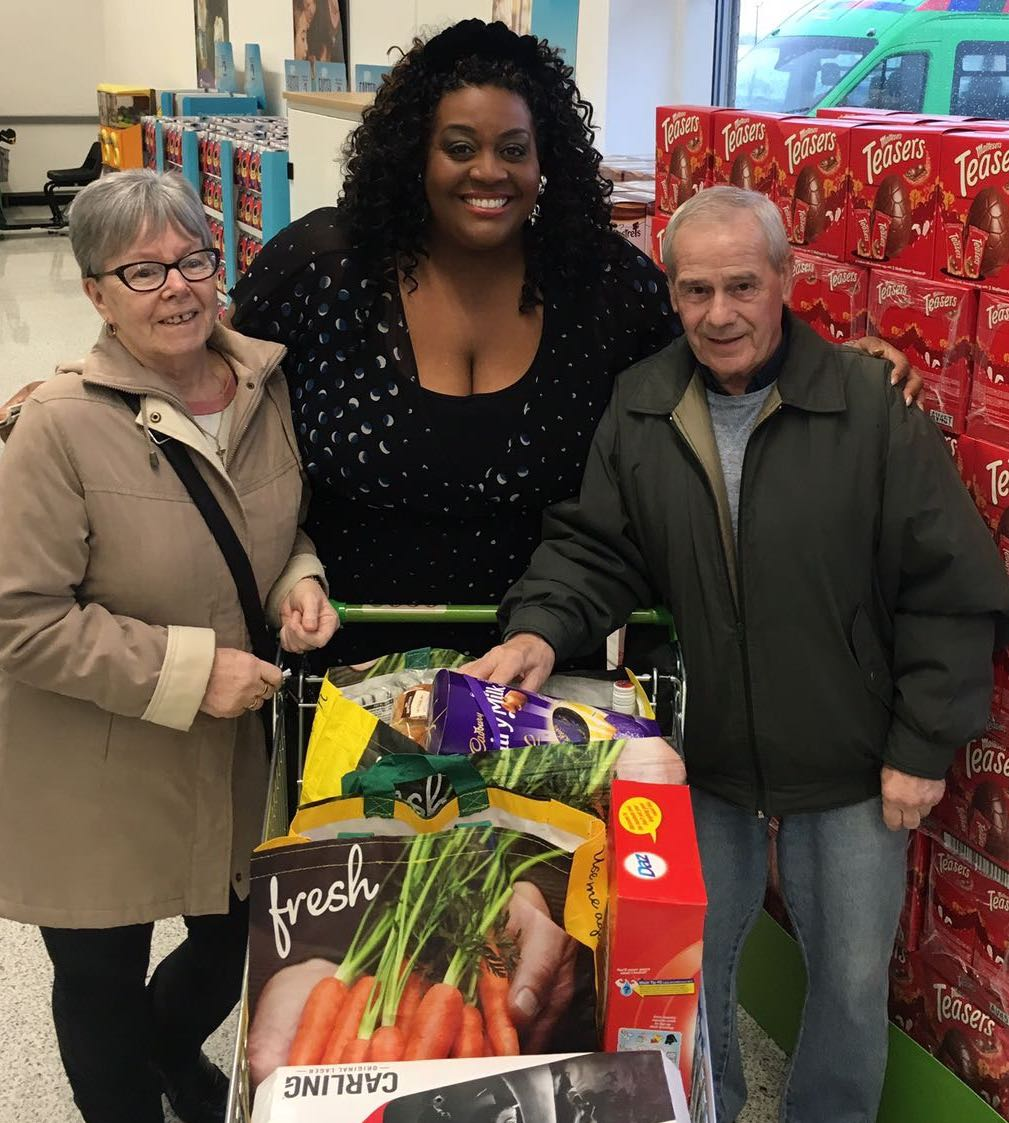 ITV This Morning star Alison Hammond with Asda Byker customers Dot and Colin