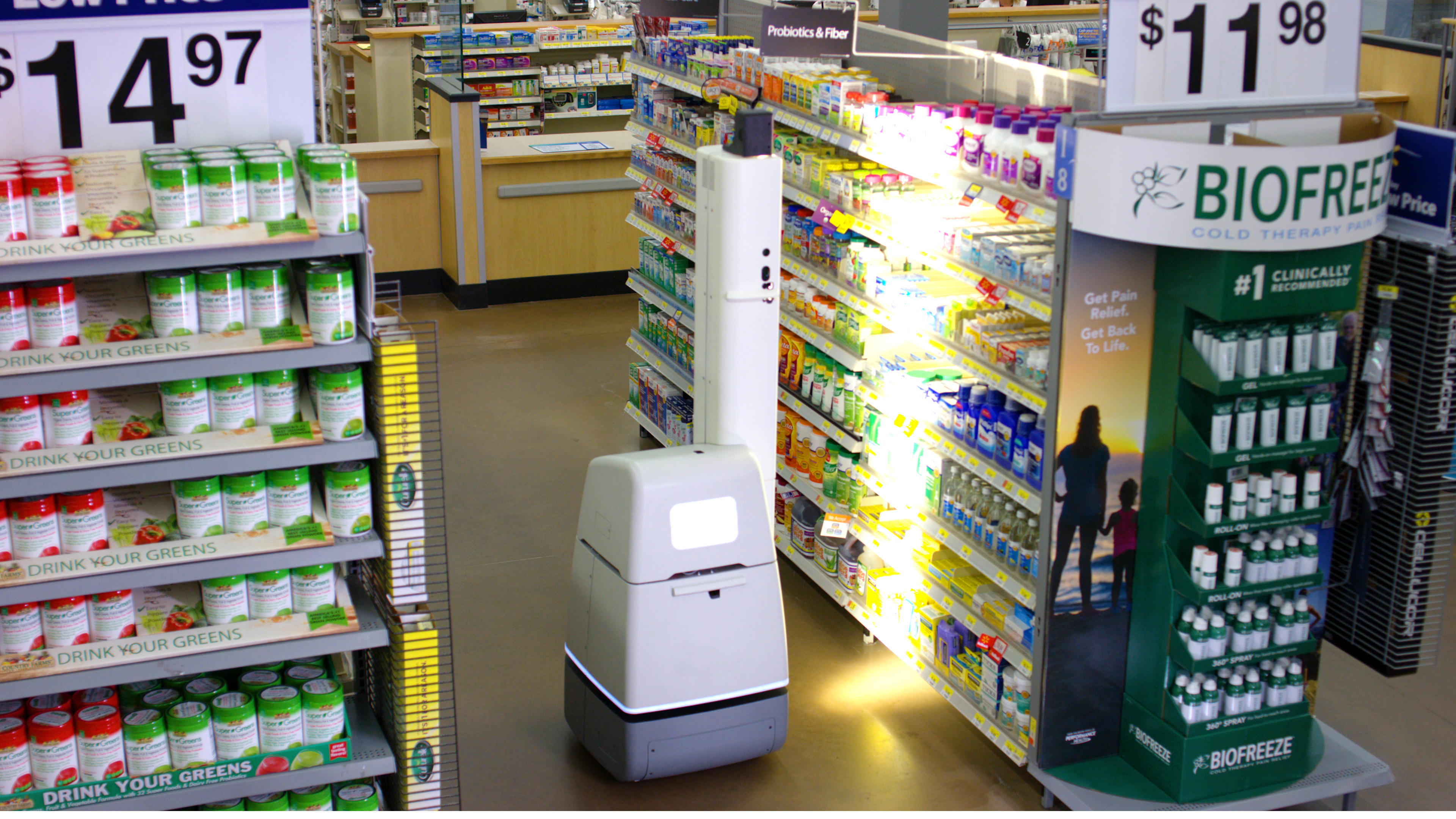 An Autonomous Shelf Scanner scans products in a Walmart pharmacy