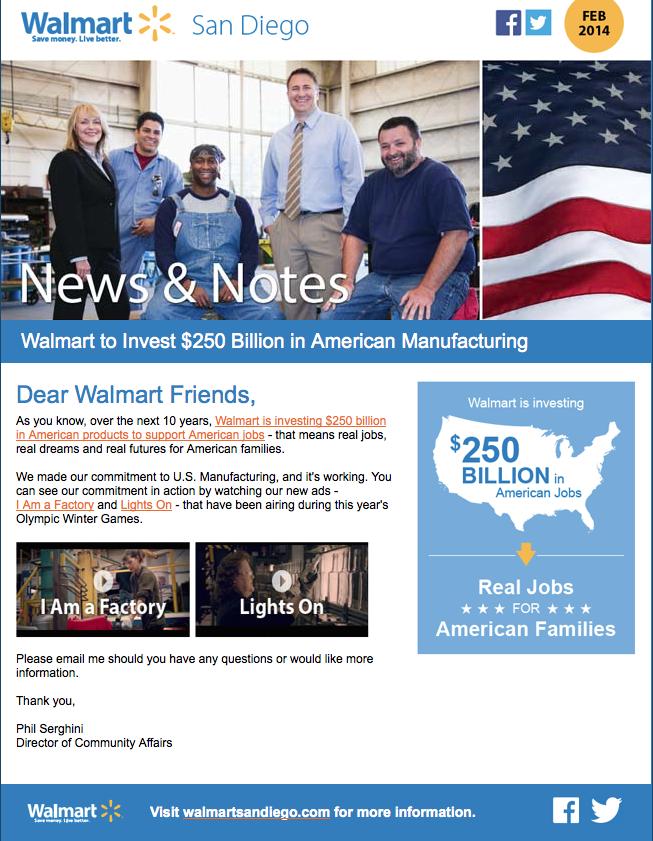 Walmart San Diego U.S. Manufacturing screenshot