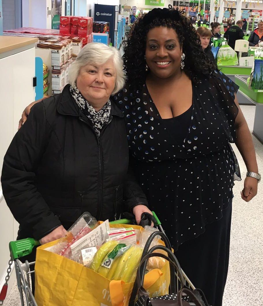 Customer Marion with ITV This Morning star Alison Hammond at Asda Byker