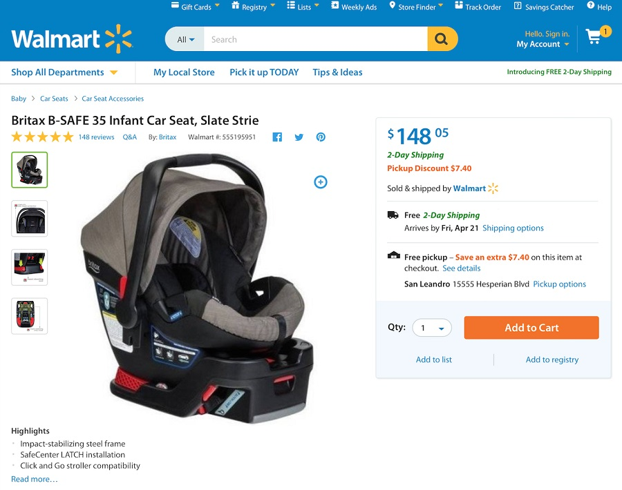 Pickup discount on Walmart.com