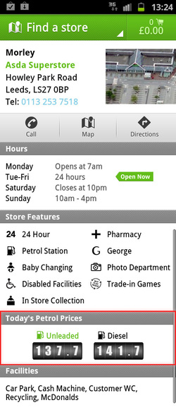 Fuel prices on the Asda mobile app