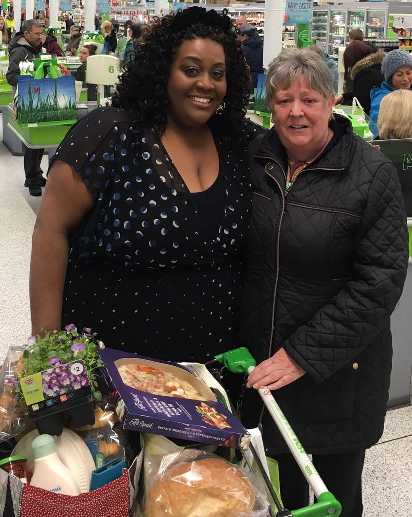 ITV This Morning star Alison Hammond with customer Elaine at Asda Byker