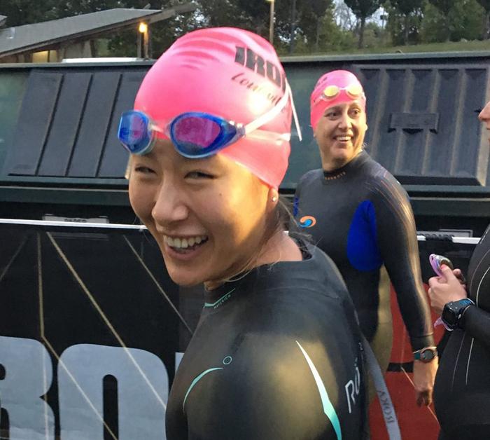 Ha Na Lee gets ready to swim