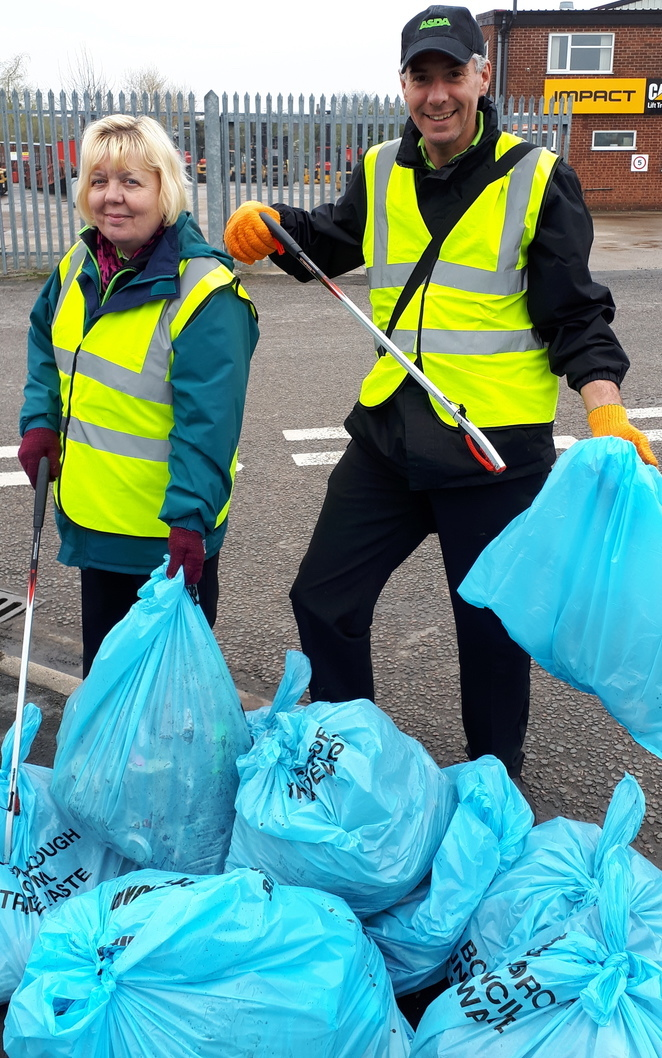 Asda Boston colleagues Stephen Bromby and Tina Brown at the clean up