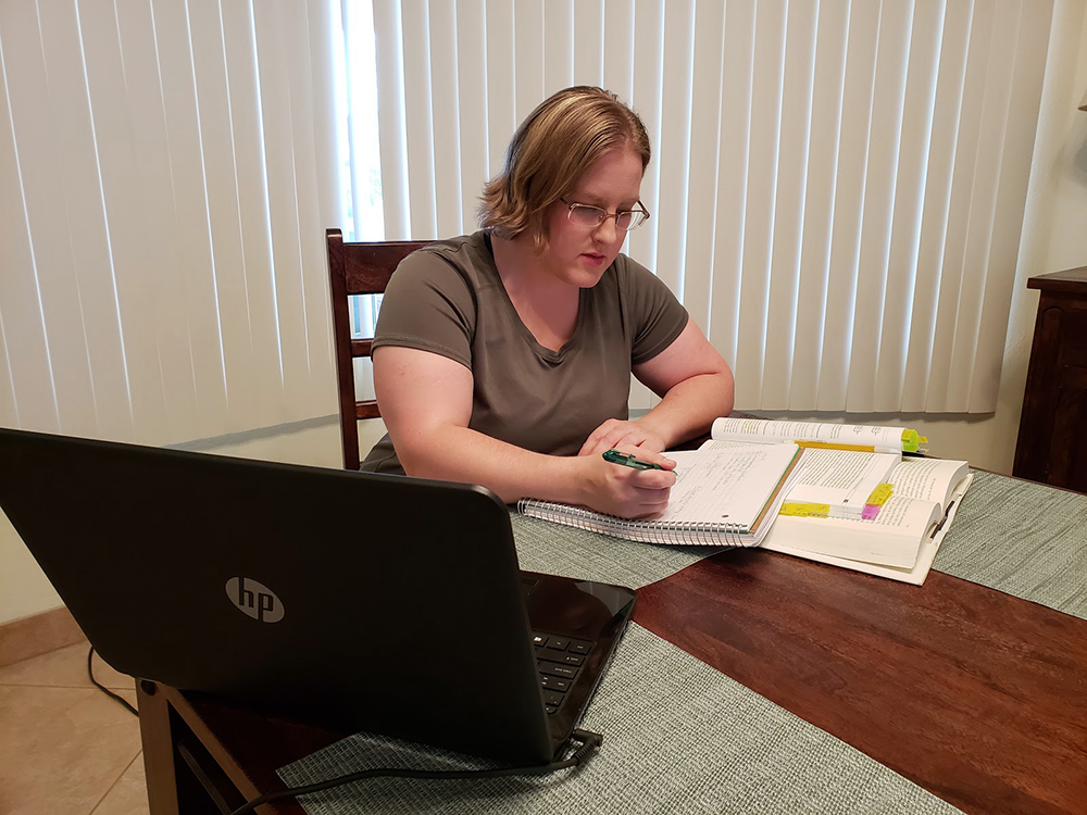 Associate Angie studying