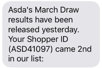 March draw scam text