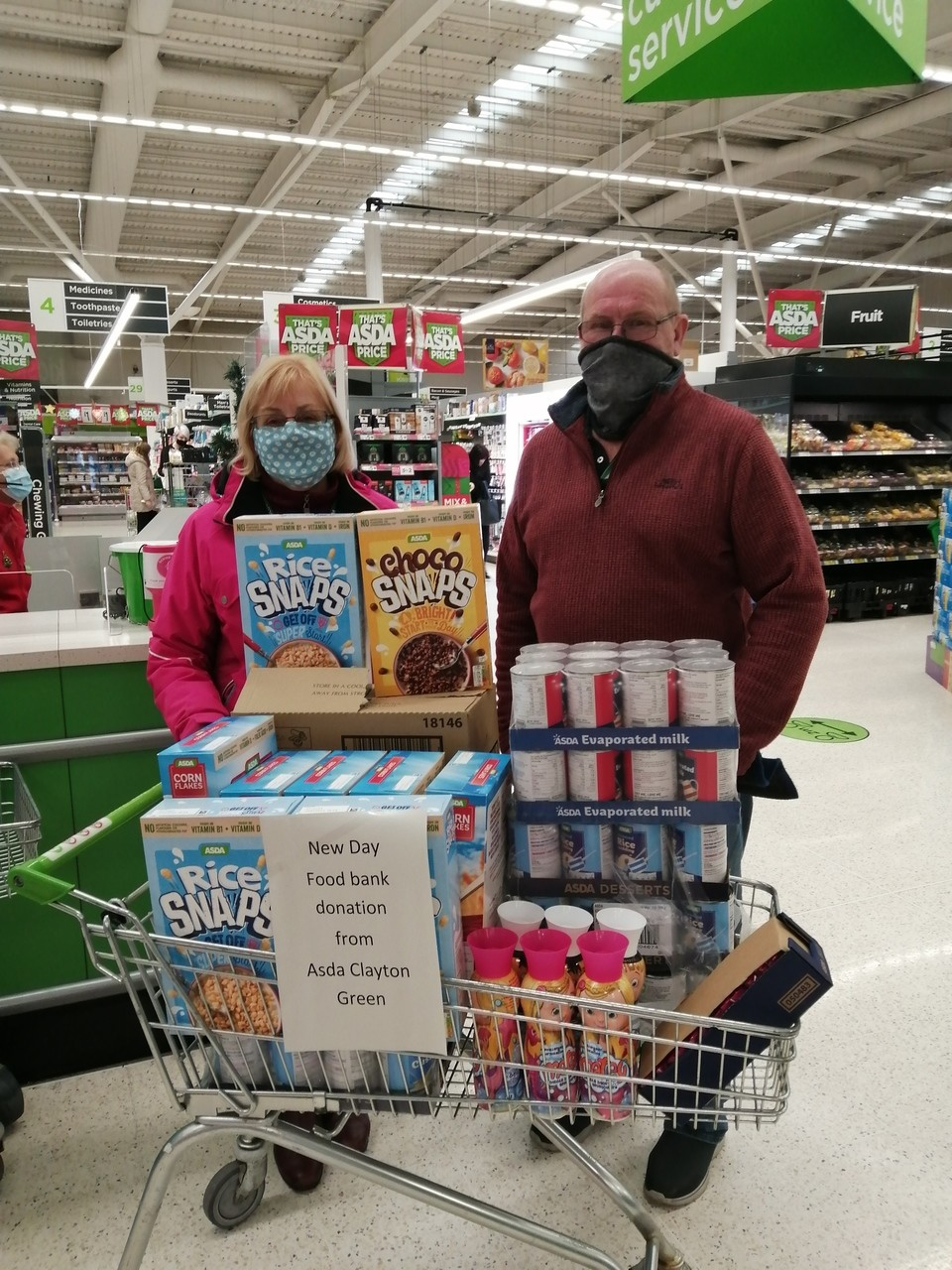 Meet Bev and Ian to fantastic volunteers for New Day church foodbank. | Asda Clayton Green