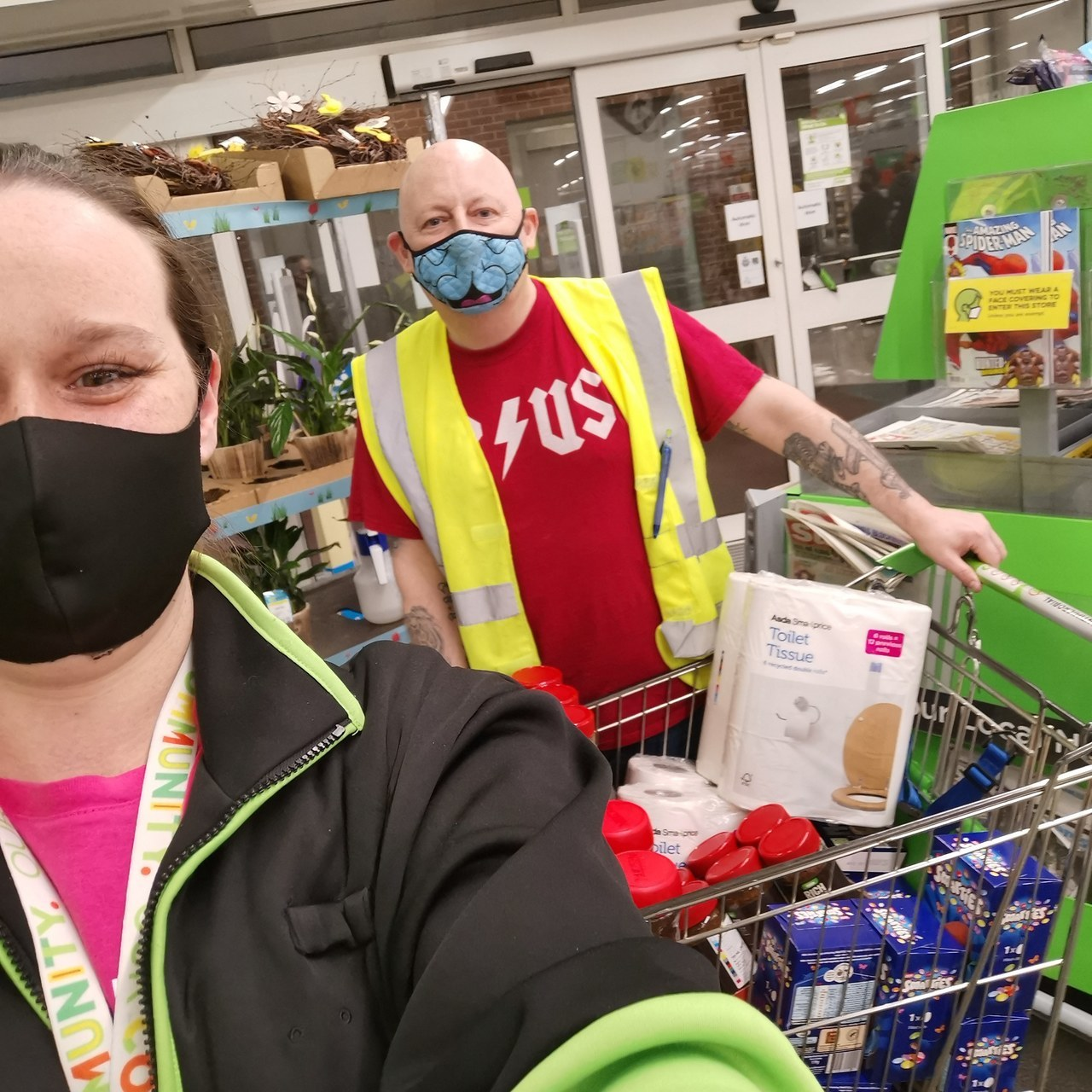 A donation of Easter eggs and essential items to the message community grocery | Asda Wythenshawe