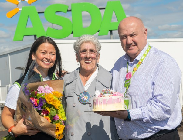 Asda Dundee Kirkton customer Margaret Finnie celebrating her 90th birthday