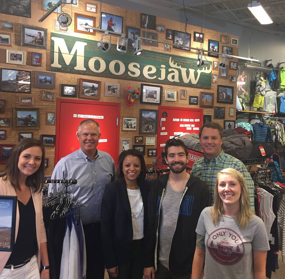 A group of Moosejaw employees with Walmart CEO Doug McMillon