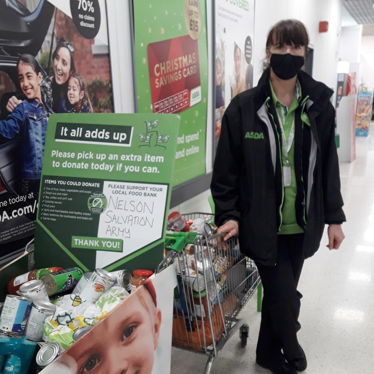 Am amazing week for our foodbank with two trollies being donated   Asda Colne