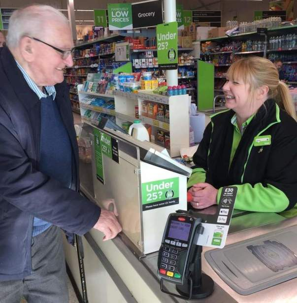 Asda Llangefni customer Norman with Wendy