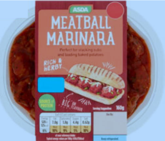 Product recall Asda Meatball Marinara meal